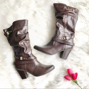 Shoes - Mid-Calf Heeled Boots Chocolate Brown Size 8.5